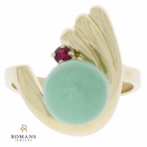 Jade and Ruby Ring 14K Yellow Gold