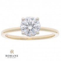 Hidden Halo Solitaire Diamond Engagement Ring 14K Two Tone