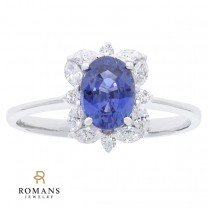 14K White Gold Sapphire and Diamond Halo Ring