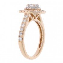 Double Halo Engagement Ring 14K Rose Gold