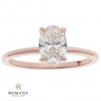 Oval Solitaire Diamond Engagement Ring 14K Rose Gold GIA