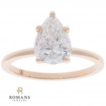 14K Rose Gold Solitaire Pear Engagement Ring