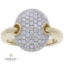 Pave Cluster Diamond Ring 14K Two Tone