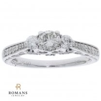 14K White Gold Diamond Engagement Ring with Blue Irradiated Diamonds