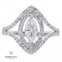 Marquise Diamond Halo Engagement Ring 14K White Gold GIA Certified