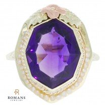 Elongated Polygonal Amethyst Seed Pearl Ring 14K Yellow Gold