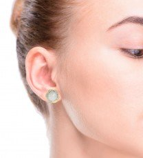 Button Pearl and Diamond Earrings 14K Yellow Gold
