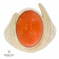 14K Yellow Gold Coral Ring