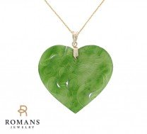 Heart Dragon Carved Jade Pendant 14K Yellow Gold