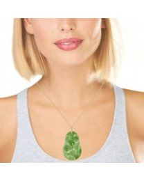 Gourd and Leaf Carved Jade Pendant 14K Yellow Gold