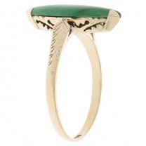 Victorian Marquise Jade Ring 14K Yellow Gold