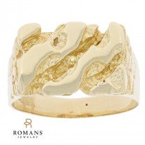 14K Yellow Gold Mens Nugget Style Ring