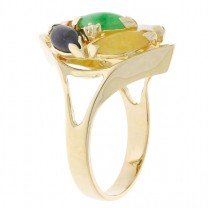 Multi Color Jade Cluster Ring 14K Yellow Gold