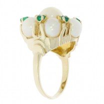 Pearl Emerald Cluster Ring 14K Yellow Gold