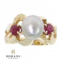 Gray Baroque Pearl Ruby Ring 14K Yellow Gold