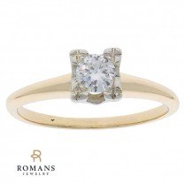 Solitaire Diamond Engagement Ring 14K Two Tone