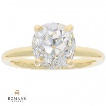 Old Mine Cut Solitaire Engagement Ring 18K Yellow Gold 3.03 Carat GIA