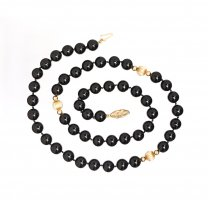 14K Yellow Gold Onyx Beads Necklace