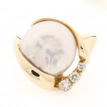Button Pearl and Diamond 14K Ring