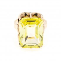 Vintage Filigree Synthetic Yellow Sapphire Ring 14K