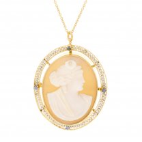 97 Year Old Cameo & Sapphire Brooch Pendant