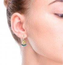 Citrine Earrings with Turquoise 14K Yellow Gold