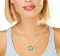 Emerald Halo Necklace 14K Yellow Gold