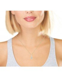 Pave Diamond Cluster Necklace 14K Yellow Gold