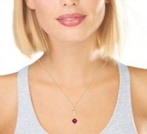 Lavalier Synthetic Ruby Pendant 14K Yellow Gold