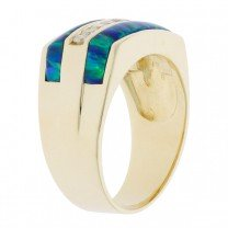 Mens Synthetic Opal Diamond Ring 14 Yellow Gold