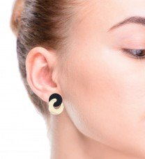 Onyx Gold Cluster Earrings 14K Yellow Gold