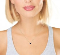 Floating Oval Blue Sapphire Necklace 14K Gold