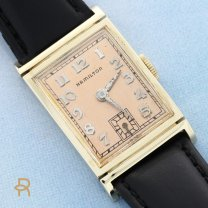 Hamilton Watch 14K Solid Gold Copper Dial Cal. 982 19 Jewel