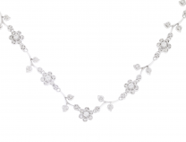Diamond Necklace Nature Inspired 14K White Gold