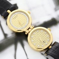 Raymond Weil Watch Dual Time 18K Yellow Gold Plated All Original