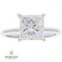 Princess Cut Diamond Solitaire Engagement Ring 14K White Gold GIA