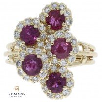 18K Yellow Gold Ruby and Diamond Cluster Ring