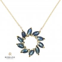 Sapphire Halo Necklace 14K Yellow Gold