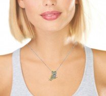Tiffany & Co. 18K Platinum Owl Pendant Brooch with 14K White Gold Chain