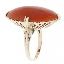 Vintage Red Coral Ring 14K Yellow Gold C.1900